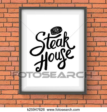 Clip Art of Steak House Restaurant Sign Hanging on Brick Wall ...
