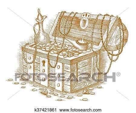 clipart of treasure chest k37421861 search clip art illustration