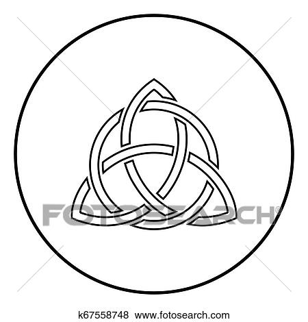 Triquetra in circle Trikvetr knot shape Trinity knot icon outline black  color vector in circle round illustration flat style image Clip Art