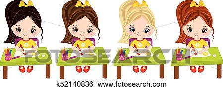 Vector Little Girls Draw Vector Little Artists Clip Art K52140836