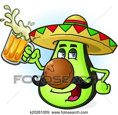 Avocado Mexican Cartoon Beer Clip Art K20261009 Fotosearch