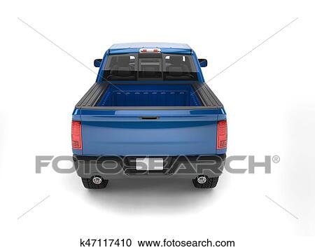 Dark Blue Modern Pick Up Truck Back View Clipart