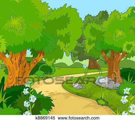 clipart of forest landscape k8869145 search clip art illustration rh fotosearch com clipart forest from birds eye view clipart forest background