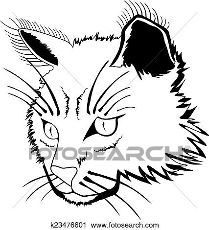 clipart gato rosto k23476601 busca de ilustrações clip art