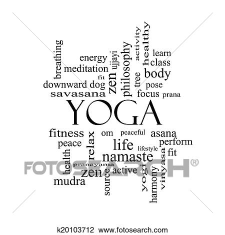 yoga mot nuage concept dans noir blanc banque d'image