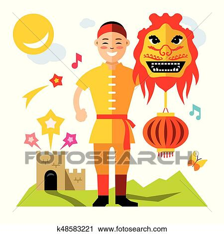ベクトル アジア 人 で 中国語 Dragon 平ら スタイル