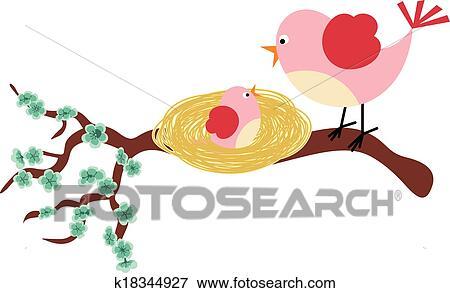 母 鳥 そして 彼女 小鳥 クリップアート K18344927 Fotosearch