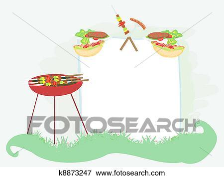 Barbecue Party Invitation Stock Ilration K8873247