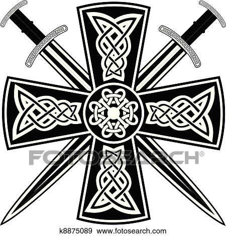 Clip Art Of Celtic Cross K8875089 Search Clipart Illustration