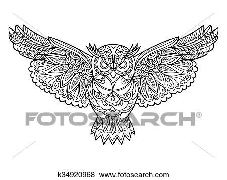 Clip Art - eule, ausmalbilder, für, erwachsene, vektor k34920968 ...