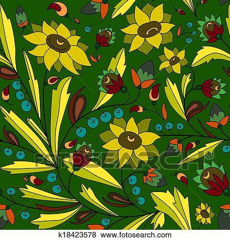Girasole E Foglia Su Sfondo Verde Archivio Illustrazioni