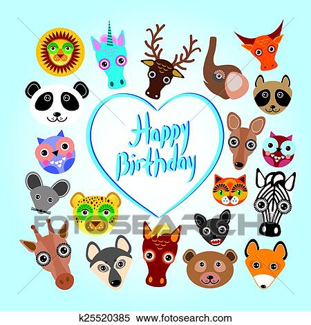 Clipart Of Happy Birthday Card Funny Cute Animal Face Vector