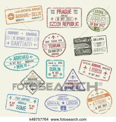 Clipart Of Passport Stamp International Travel Visa Design