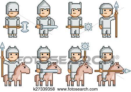 Pixel Art Armée De Chevaliers Et Cavaliers Clipart