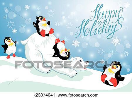 Scheda con divertente pinguini e orso polare su neve blu