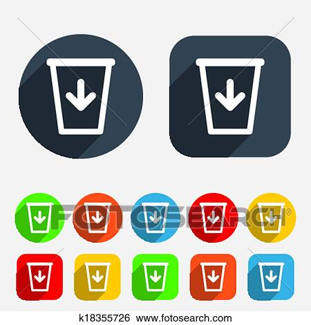 Clip Art Of Send To The Trash Icon Recycle Bin Sign K18355726