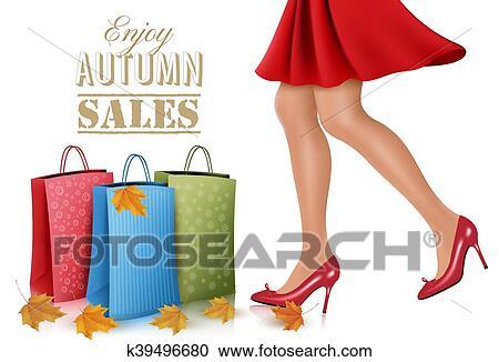 4a1ac5436928 Clipart - shopping, donna, il portare, vestito rosso, e, alto tallone