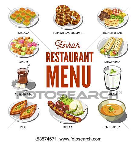 Clipart Turkisch Kuche Essen Und Traditionelle Geschirr