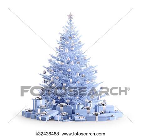 Coleccin de ilustraciones azul rbol de navidad con regalos