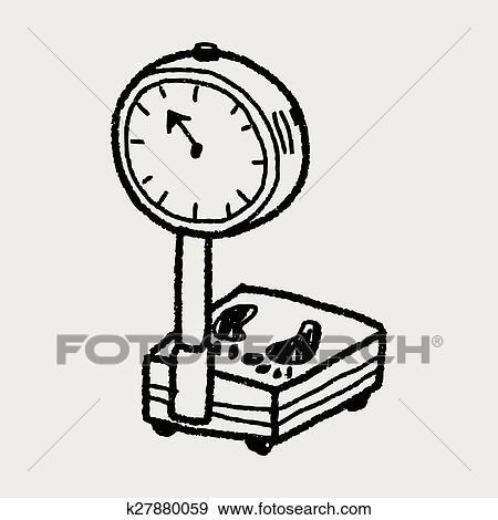 Balance poids griffonnage clipart k27880059 fotosearch - Dessin de balance ...