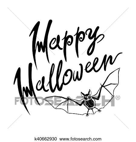 Feliz Morcego Halloween Mensagem Desenho Experiencia