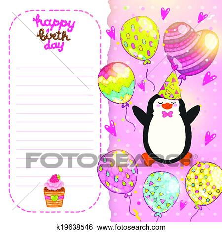 Clip Art Of Happy Birthday Card Background With Cute Penguin