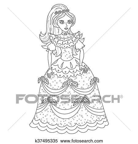 Hermoso, princesa, en, brillar, vestido, con, spangles, libro colorear Clipart