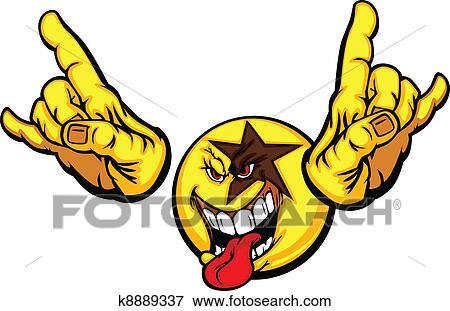 clip art of rock star cartoon face emoticon k8889337 search rh fotosearch com rockstar guitar clipart rock star clip art for kids