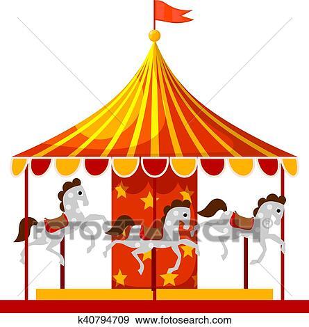Carrousel Dessin clipart - stockage, vecteur, dessin animé, enfants, amusement