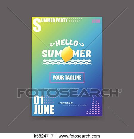 Vector Hello Summer Beach Party Vertical A4 Poster Design Template Or Mock Up With Fresh Lemon On Gradient Background Hello Summer Concept Label Or Flyer With Orange Fruit And Typographic Text Clipart