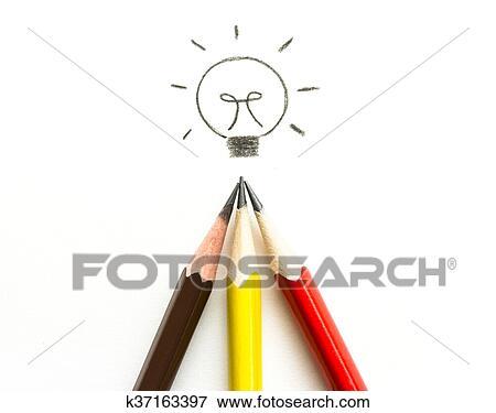 Viele Bleistift Zeichnen Glühbirne Weiß Idee Und