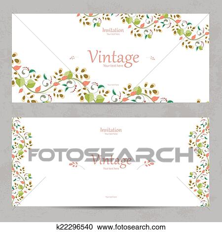 Vintage Floral Invitation Cards For Your Design Clipart K22296540 Fotosearch
