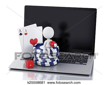 3d White People With Laptop Casino Online Games Concept Clip Art K25558681 Fotosearch
