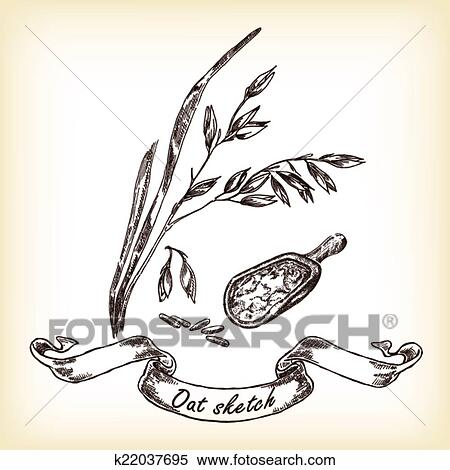Bakery Sketch Hand Drawn Illustration Of Oats And Grain Clipart