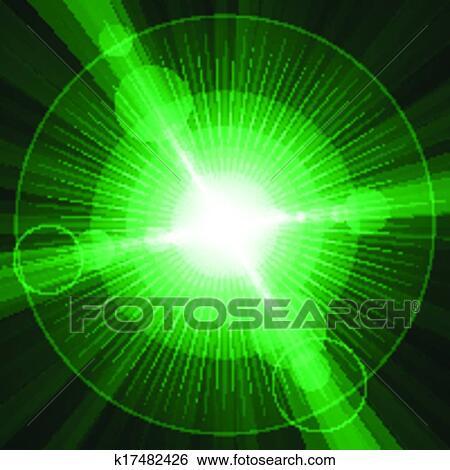 Bianco Lucente Cerchi E Stelle Sfondo Verde Clip Art