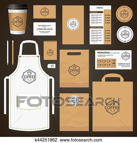 Clipart - café, identidad corporativa, plantilla, diseño, conjunto ...