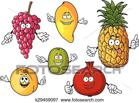 Perfect Clip Art   Cartoon Happy Fresh Fruits Characters. Fotosearch   Search  Clipart, Illustration Posters