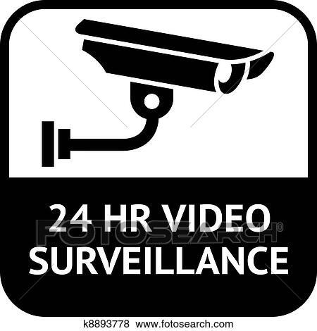 Clip Art Of Cctv Symbol Video Surveillance K8893778 Search