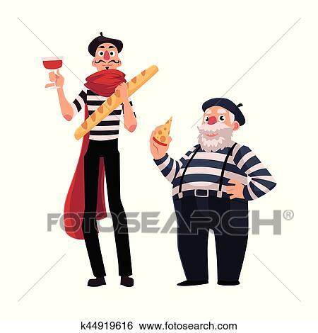 Due francese mimes giovane vecchio con simboli di francia