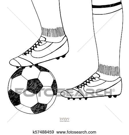 Fussball Ball Unter Spieler Boot Hand Gezeichnet