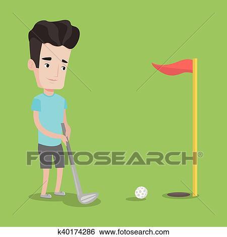 Golfer hitting the ball vector illustration. Clip Art on cartoon golf club clip art, cartoon golf club swing, the step to draw a cartoon golf club, cartoon man golf club,