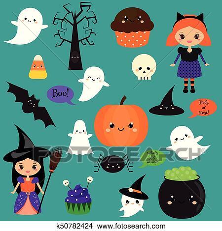 Halloween Autocollants Pièces Badges Mignon Citrouille Fantômes Gosses Et Autre Vacances Symboles Dans Kawaii Style Clipart