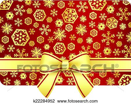 Christmas Gifts Clip Art.Luxury Christmas Gift Card With Golden Snowflakes And Ribbon Clipart