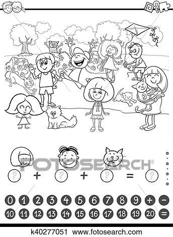 Clipart - matemáticas, actividad, libro colorear k40277051 - Buscar ...