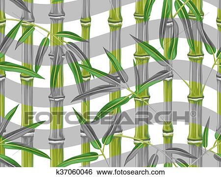 clip art of seamless pattern with bamboo plants and leaves