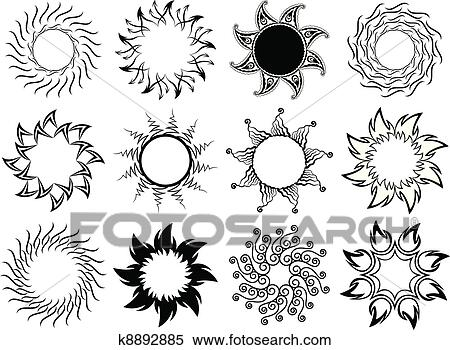 Clipart Of Set Of Stylized Graphic Sun Symbols K8892885 Search