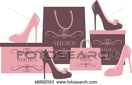 Clipart Of Shoe Shopping K8892053 Search Clip Art Illustration