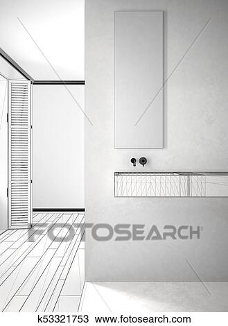 Unfinished project of bathroom close-up, marble wall and ...