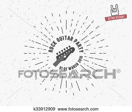 Clip Art Of Vector Vintage Guitar Label With Sunburst Typography