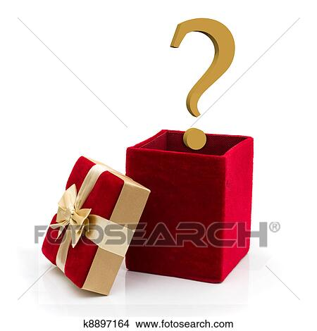a red velvet present with a gold bow and gold question mark isolated on white what to give for a present - What To Give For Christmas